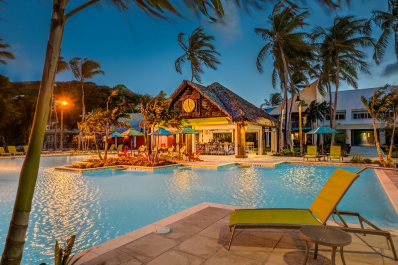 A soft Caribbean evening by the pool.